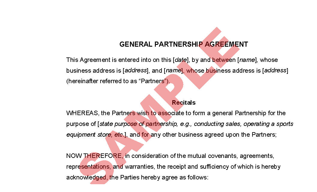 Partnership Agreement Sample  SaveBtsaCo